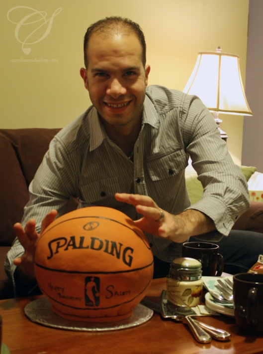 Salem's 2012 Birthday Cake - yes, it's the size of a real basketball. No, you cannot go shoot some hoops with it.