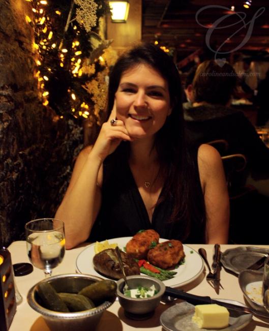 Caro ready to dig into her chicken Kiev.