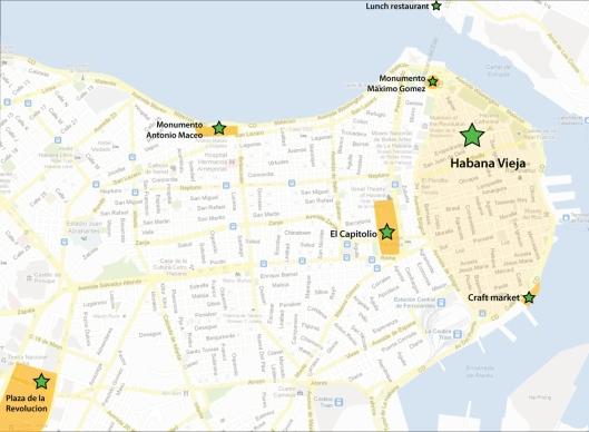 Greater Habana tour map. Où nous sommes allés à la Habane.