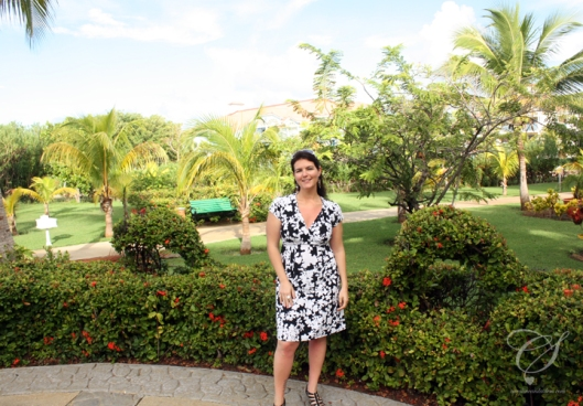 Caro posing outside of our room - the grounds are amazing.