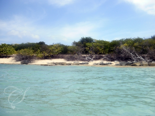 Palomino island beach. La plage de l'île Palomino.