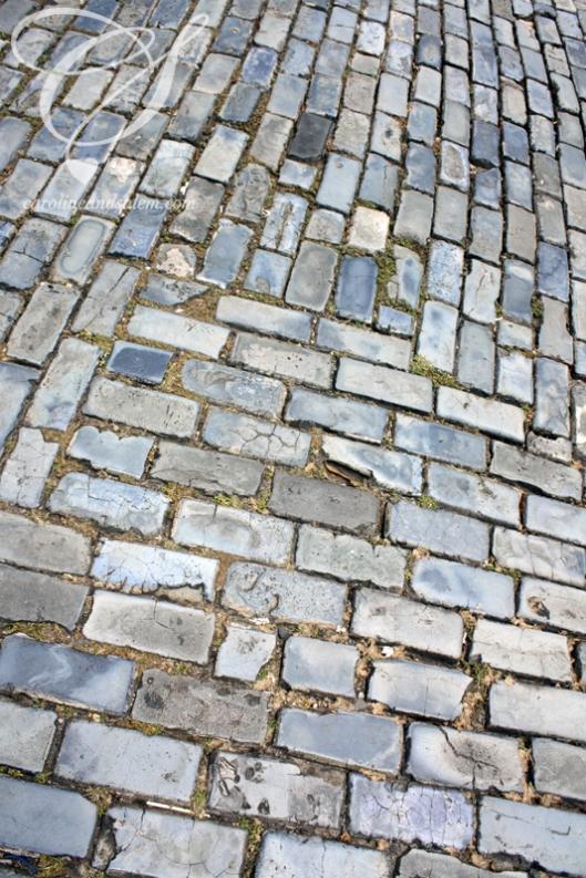 Colourful cobblestone road. Rue en pavé en plusieurs teintes de bleu.