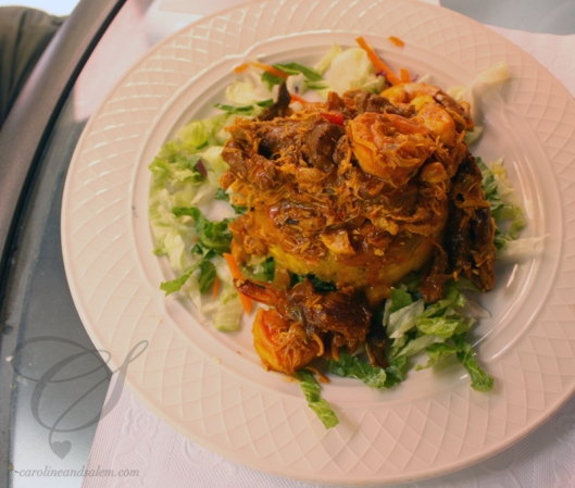 Salem's mofongo combo - beef, chicken, shrimp. Le combo mofongo de Salem: boeuf, poulet et crevettes.